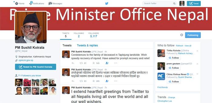 प्रधानमन्त्री कोइराला अब ट्वीटरमा पनि सक्रिय