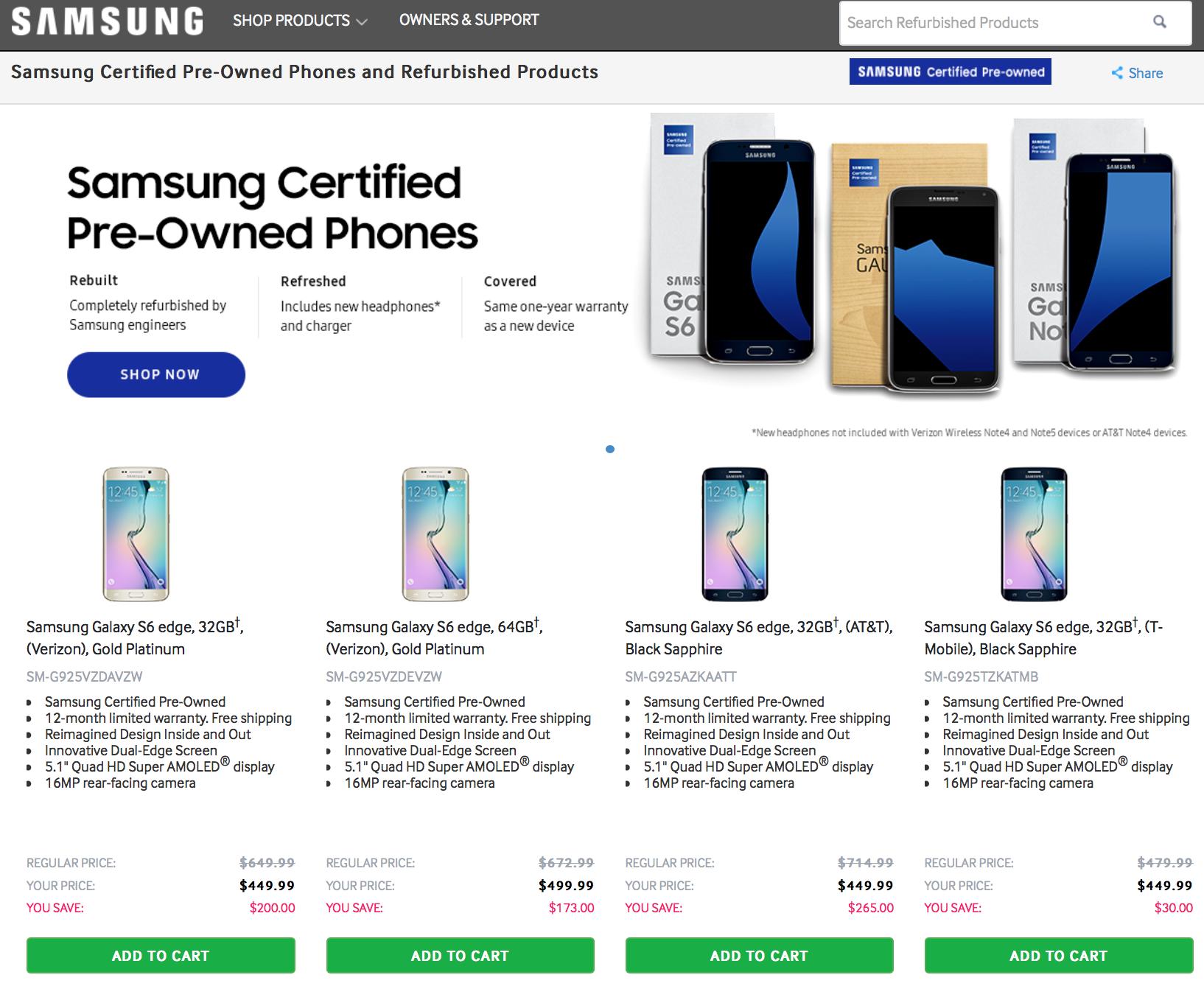 सामसंगको 'रिफर्बिस्ड' स्मार्टफोनहरुको बिक्री शुरु, अमेरिकी वेबसाइटमा लिस्टेड