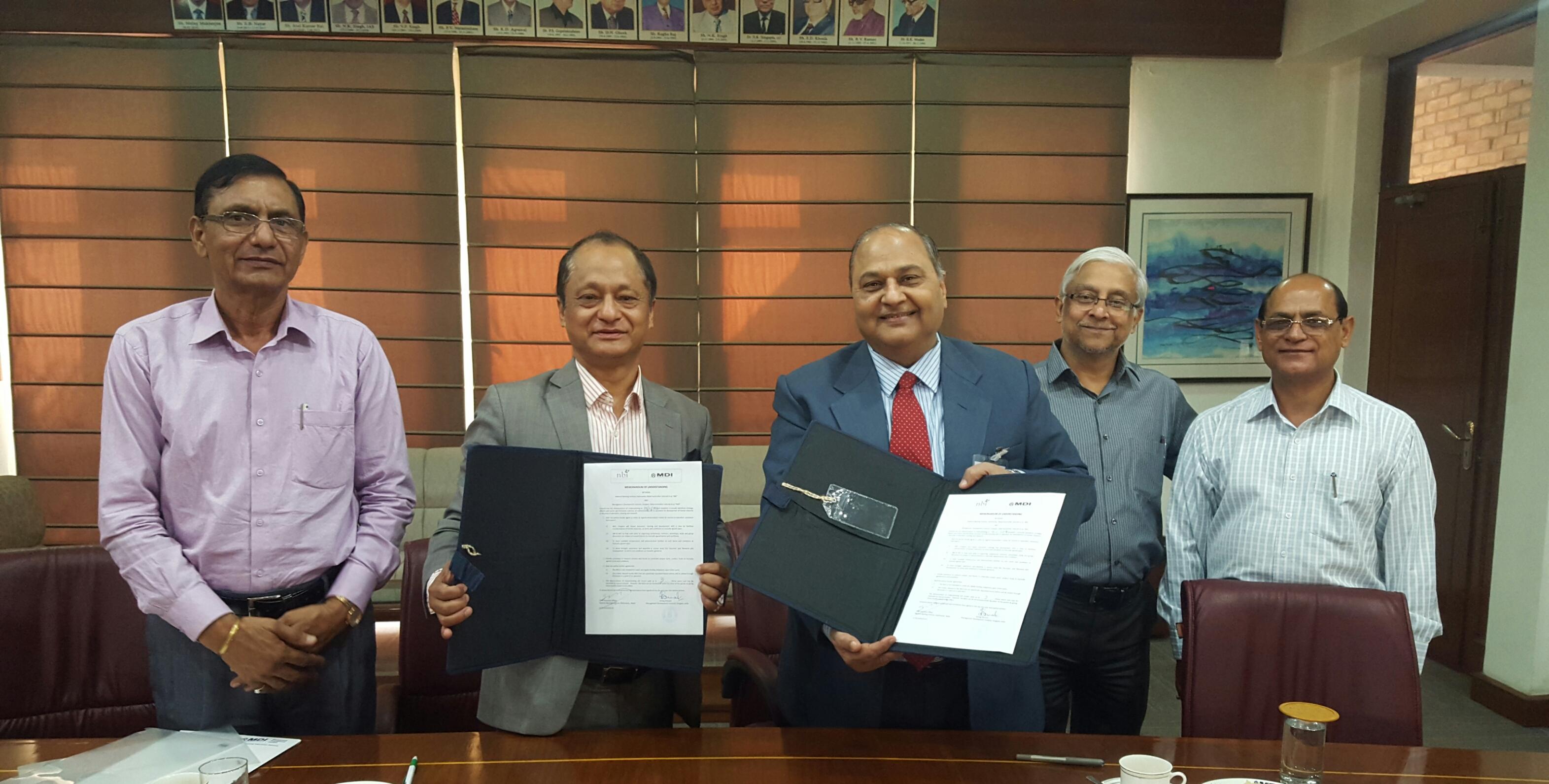 एनबिआई र भारतीय संस्था एमडीआई बिच समझदारी पत्रमा हस्ताक्षर