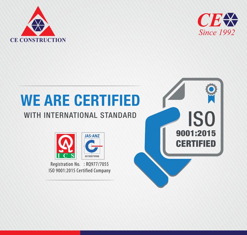 सीई कन्सट्रक्शनलार्इ आइएसओ ९००१:२०१५ प्रमाणपत्र