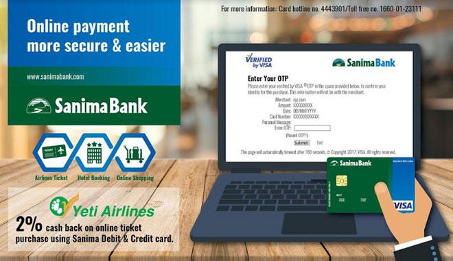 सानिमा बैंकको भिसा कार्डमार्फत अनलाइन किनमेल गर्न सकिने