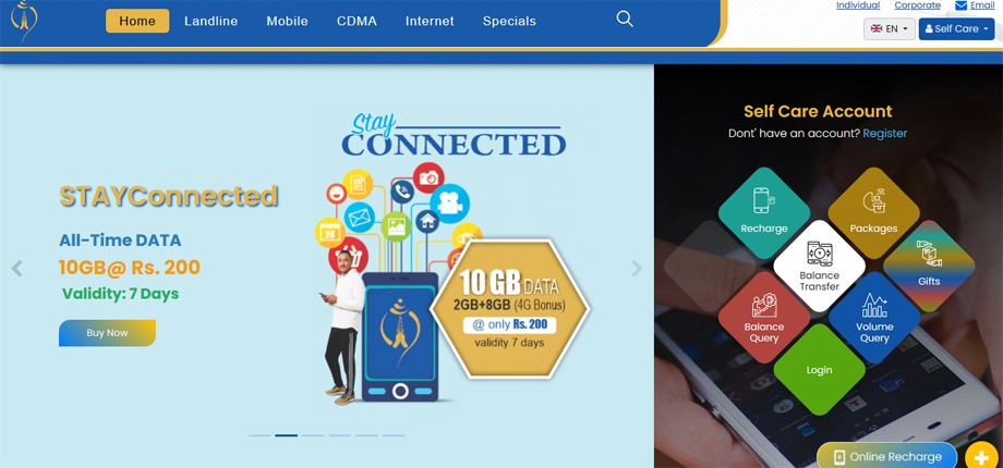 Nepal Telecom's website is now redesigned, these services can be availed online