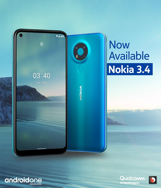 Nokia 3.4 –triple camera with AI imaging and a bigger screen and fast performance