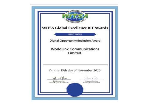 WorldLink Communications has won the international merit award