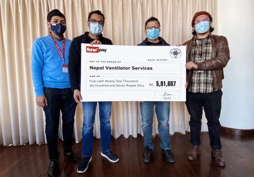 नेपाल भेन्टिलेटर बैंकलाई फोनपे मार्फत सहयोग रकम हस्तान्तरण