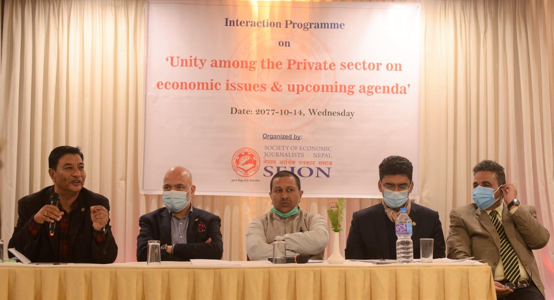 आर्थिक मुद्दाहरुमा एकता गर्ने निजी क्षेत्रको घोषणा