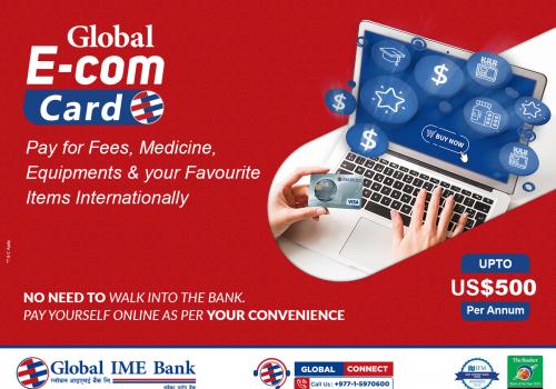 ग्लोबल आइएमई बैंकको 'ग्लोबल ईकम डलर कार्ड', विदेशी अनलाइन खरिदमा भुक्तानी गर्न सकिने