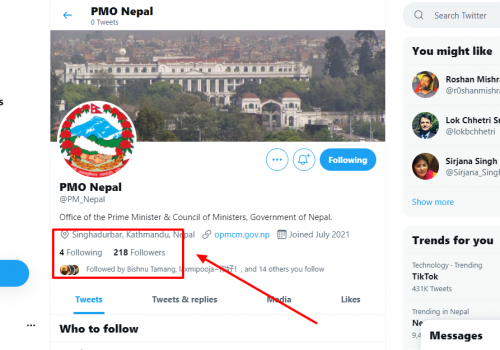 प्रधानमन्त्रीको आधिकारिक ट्विटर ह्याण्डल आर्काइभ गर्न नजान्दा फलोअर र ब्लू टिक हरायो