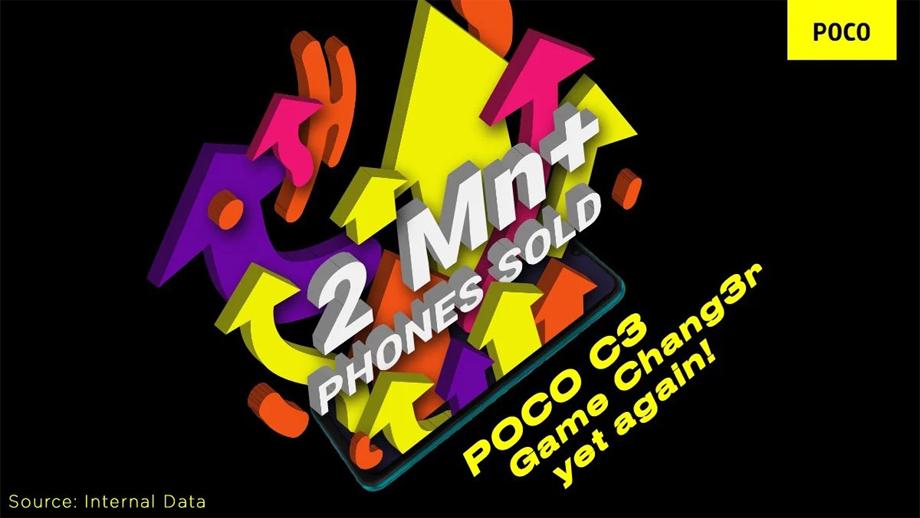 पोको सी३ स्मार्टफोन ९ महिनामा भारतमा २० लाख थान बिक्री